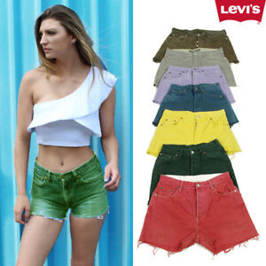 Vintage-Levis-Dyed-Denim-Shorts-Womens-High-Waisted-GRADE-A-Hotpants-6-to-16