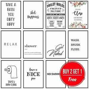 Framed Bathroom Art Toilet Prints Bathroom Pictures Funny Quotes Puns Wall Art Ebay