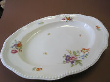 Wunderschöne große  Platte oval  Modell Ph. Rosenthal Perlrand Bunte Blumen.