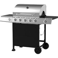 5-Burner Gas Grill, Stainless Steel/Black Outdoor Cooking BBQ - Brand New