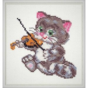 CHUDO-IGLA-15-06-Kitten-Musician-Embroidery-counted