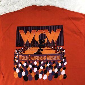 Vtg-WCW-Wrestling-Disney-Crew-AUTOGRAPHED-Shirt-XL-1996-Renegade-High-Voltage