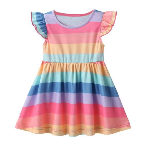 Baby Kids Girls Summer Striped Dress Toddler Short Sleeve Cartoon Sundress 1-4Y