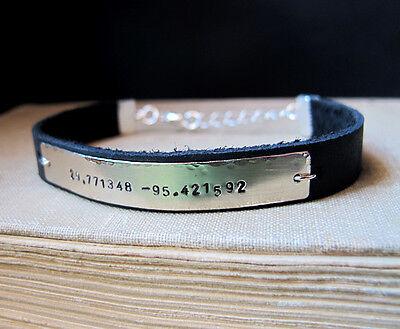 Latitude Longitude Bracelet. Leather Adjustable Bracelet. Personalized Bracelet