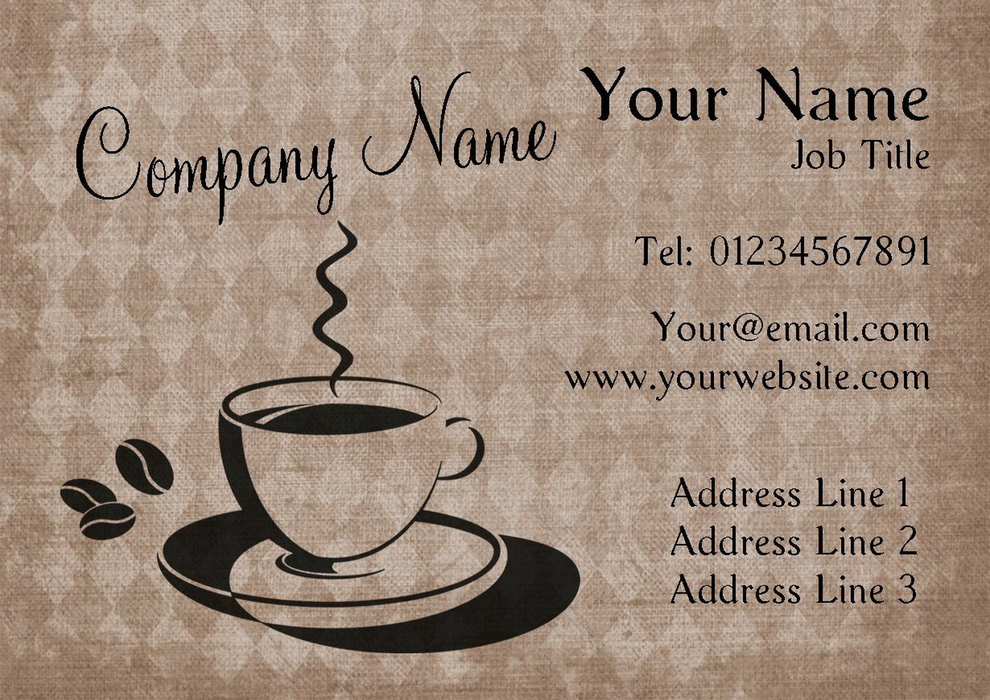 Cup Of Coffee Personalised Business Cards