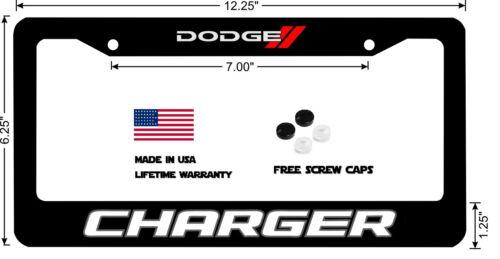 Dodge Charger White Block Lettering Classic Custom License Plate Frame