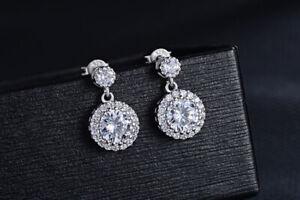 925-Sterling-Silver-Round-Drop-Dangle-Stone-Stud-Earrings-Womens-Jewellery-Gift