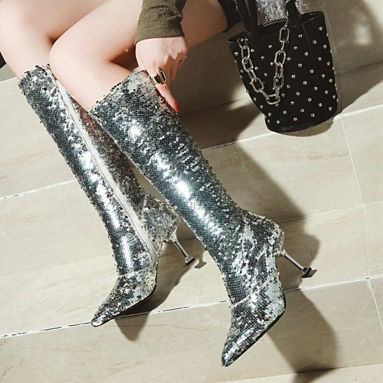 Womens Trendy Sexy Glitter Sequins Pointy Toe Kitten Heels Nightclub Party Boots