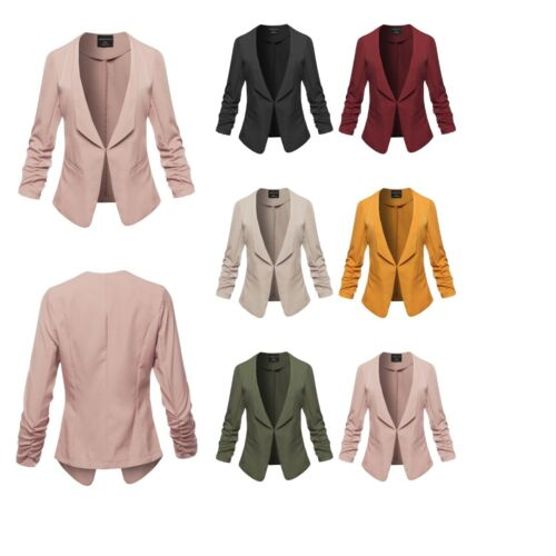 FashionOutfit Women/'s Solid 3//4 Shirring Side Pockets Sleeve Open Front Blazer