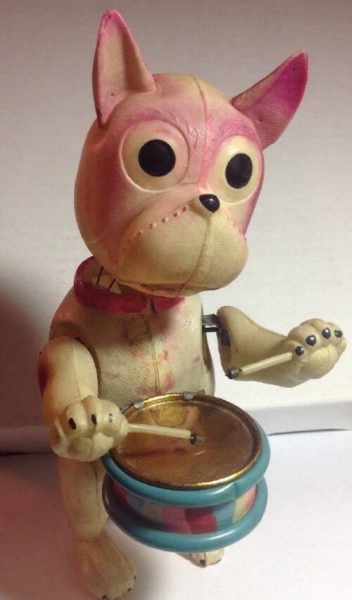 Wind Up Drummer Dog Celluloid Toy Vintage Pre War Japan Works Great