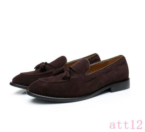 New Brogue Mens Pointed Toe Suede Tassels Business Slip On Loafers Casual Dress