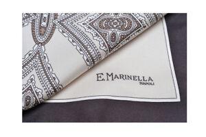 E-Marinella-100-Silk-Scarves-Tuch-Schal-Panno-Marrone-seta-44-cm-x-44-cm