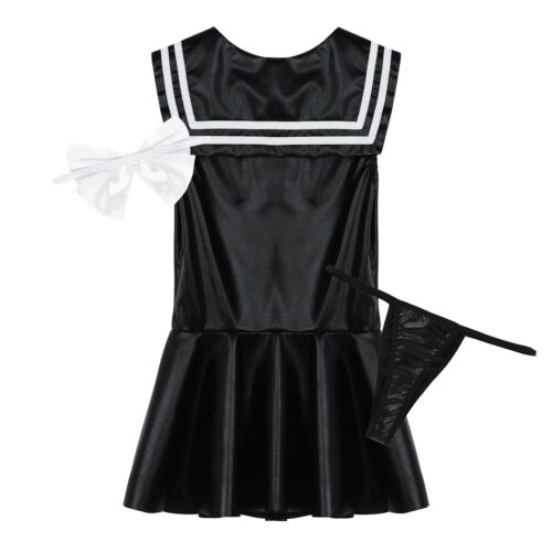 Women/'s Leather Look Sailor School Girl Uniform Cosplay Fancy Dress Outfit Sets
