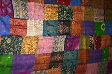 King Antique Indian Quilt -queen Vintage Patola Silk Sari Kantha Quilt Patchwork