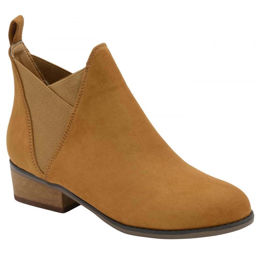 LADIES DOLCIS RONNI TAN LOW STACK COWBOY HEEL CHELSEA MEMORY FOAM ANKLE BOOTS