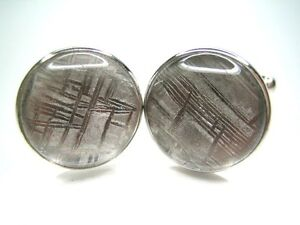 Shirt Studs Made with Meteorite and Sterling Silver