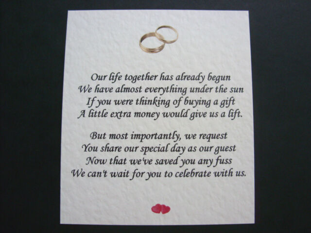 20 Wedding Poems Asking For Money Gifts Not Presents Ref No 3 Ebay