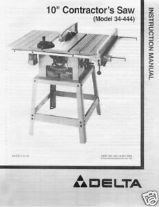 delta 10 table saw instruction manual model 34 444 ebay rh ebay com delta table saw manual 34-670 delta table saw manual 36-725