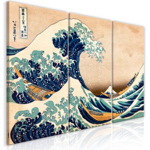GROßE WELLE VOR KANAGAWA Wandbilder xxl Bilder auf Vlies Leinwand p-B-0009-b-e