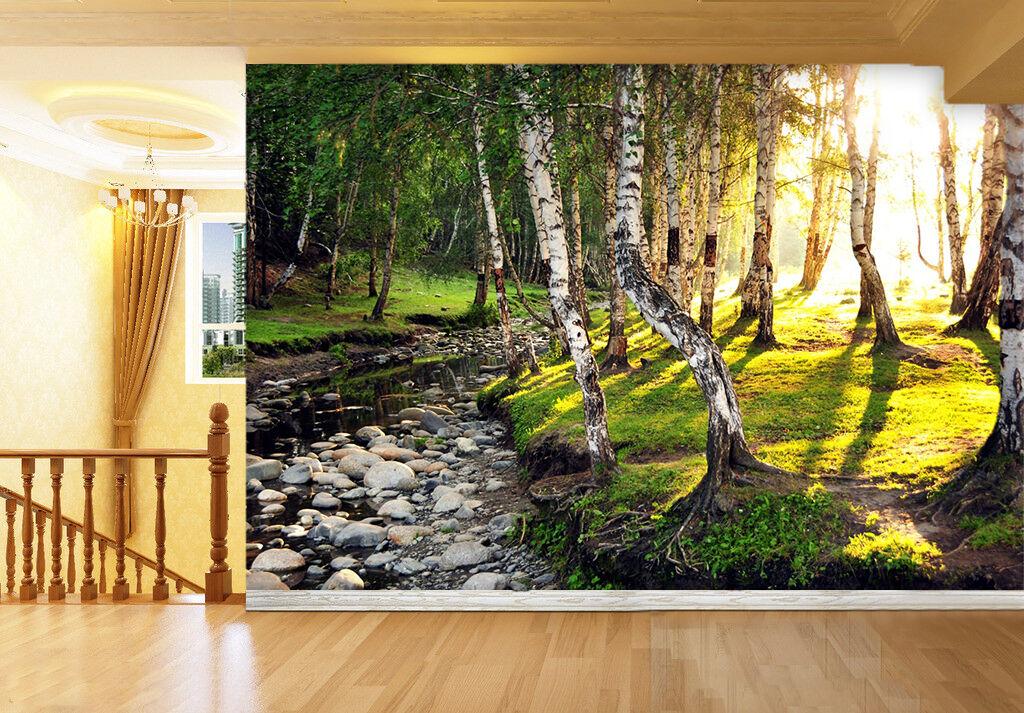 3D Forest Stream 586 WallPaper Murals Wall Print Decal Wall Deco AJ WALLPAPER