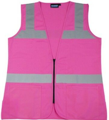 Pink Safety Vest Fitted High Visibility Size Small - 5XL Free Shipping