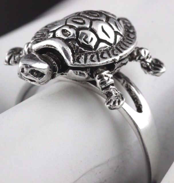 Womens Solid 925 Sterling Silver Good Luck Vintage Style Engraved Turtle Ring