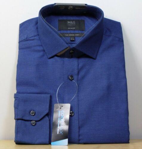 "M/&s Coolmax Coupe Standard Manche Longue Voyage Shirt ~ Taille 15.5/"" ~ Marine Mix"