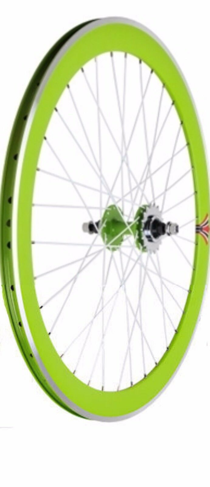 Deep V 50mm Fixed Gear, Fixie, Flip-Flop Hub Rear Bicycle Wheel, Green & White