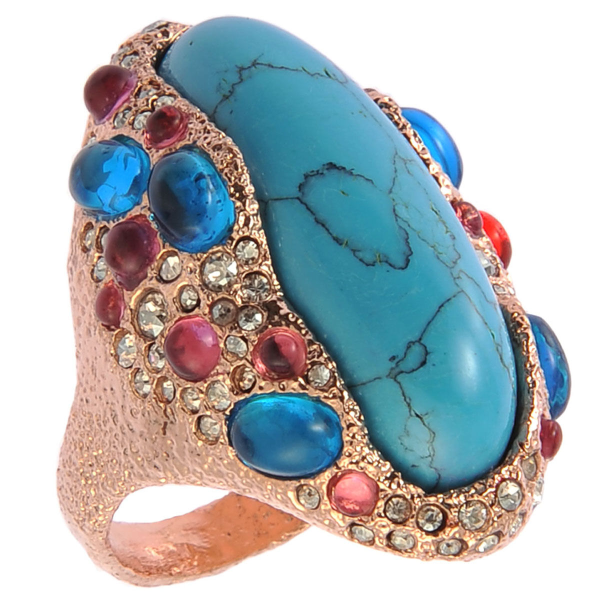 De Buman 18K pink gold Plated & Turquoise Ring Size7  8