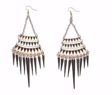 LARGE EMPIRE EARRINGS LONG CONED SILVER SPIKES GOLD & SILVER BODY (ZX55)