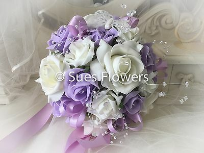 Bridesmaid Bouquet In Lilac and Ivory Crystals Diamantes and Butterflies