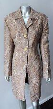 Jacquard Brocade Vintage Damasks Gold Button 3/4 Length Dress Jacket Coat L 14