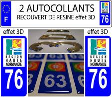 2 stickers plaque immatriculation auto TUNING DOMING RESINE HAUTE NORMANDIE 76