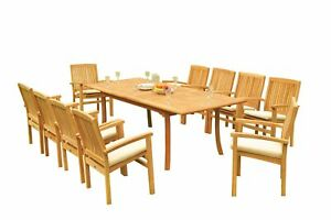 """11pc Grade-A Teak Dining Set 94"""" Rectangle Table 10 Wave Stacking Arm Chairs 9780765308573"""