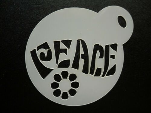 cookie craft /& face painting stencil 60mm peace writing design cake