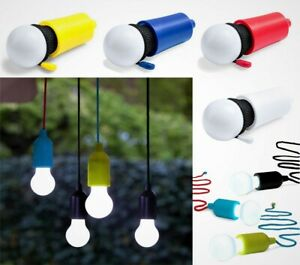 outlet store e1310 4a83a Details about Portable LED Bulb Light On A Rope Reading Lamp White Battery  Operated Pull Cord