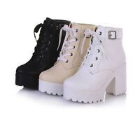 New Ladies Lace Up Buckle Platform Block Heel Roma Thick Ankle Boots Shoes UK Sz