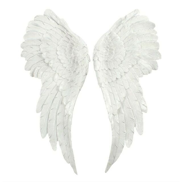 PAIR OF LARGE GLITTER ANGEL WINGS 54cm WHITE GLITTER WALL HANGING HOME AO_44427