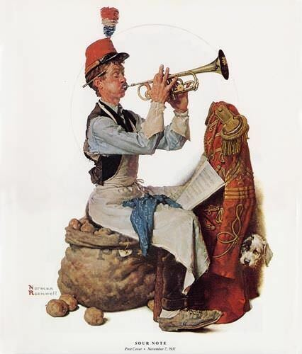 """Norman Rockwell print /""""A SOUR NOTE/""""  Marching Band 11x15/"""" musical trumpet"""