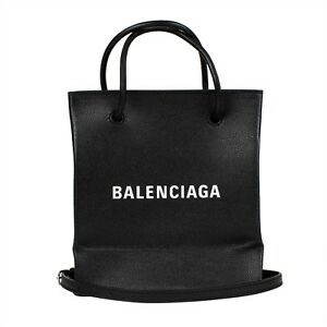 d8bb3b638bacf Image is loading NWT-BALENCIAGA-Black-Leather-Heritage-Shopping-Tote-Bag