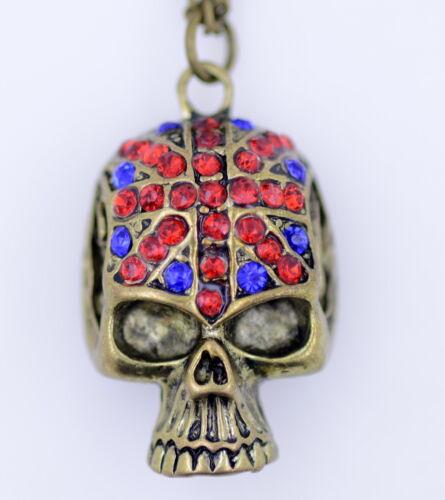 Crâne de style punk rétro vintage avec collier en cristal à motif union jack