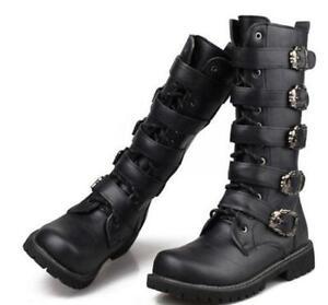 Men-Black-Riding-Moto-Militerry-Lace-Up-Knee-High-Boots-Boys-Buckle-Combat-Shoes
