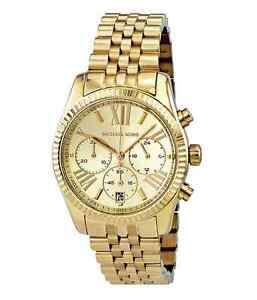 61f4118a10a6 Image is loading New-Michael-Kors-Lexington-Gold -Stainless-Steel-Chronograph-
