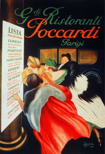 6746.G di ristranti Poccardi Parigi.women looking at menu.POSTER.art wall decor