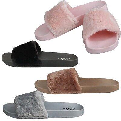 Ella Tito Faux Fur Mule Sliders Sandals