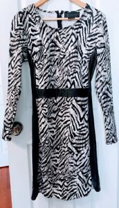 Kardashian-Kollection-KK-Tiger-Print-Black-Panel-Long-Sleeve-Shirt-Dress-Size-L