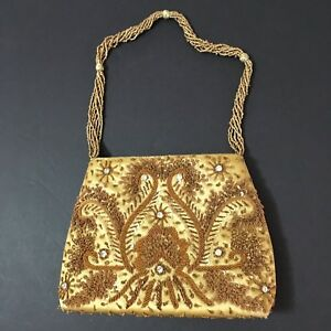 39acda5fe1 Details about Bougainvillea Gold Purse Evening Bag Beaded Sequins  Rhinestones Formal Wedding