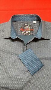 Robert-Graham-Men-039-s-XL-Cade-Long-Sleeve-Stretch-Shirt-Blue-Flip-Cuff-NWT-198