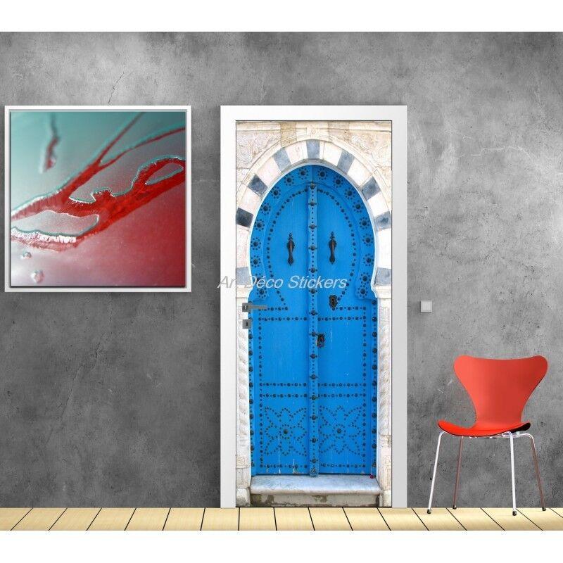 Cartel Póster de Puerta Trampantojo Ojo Oriental Azul 530 Arte Decoración