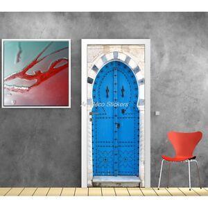 Affiche Poster De Porte Trompe Loeil Porte Orientale Bleu 530 Art